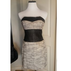 Bebe Strapless Boucle Tweed, Vegan Leather Dress
